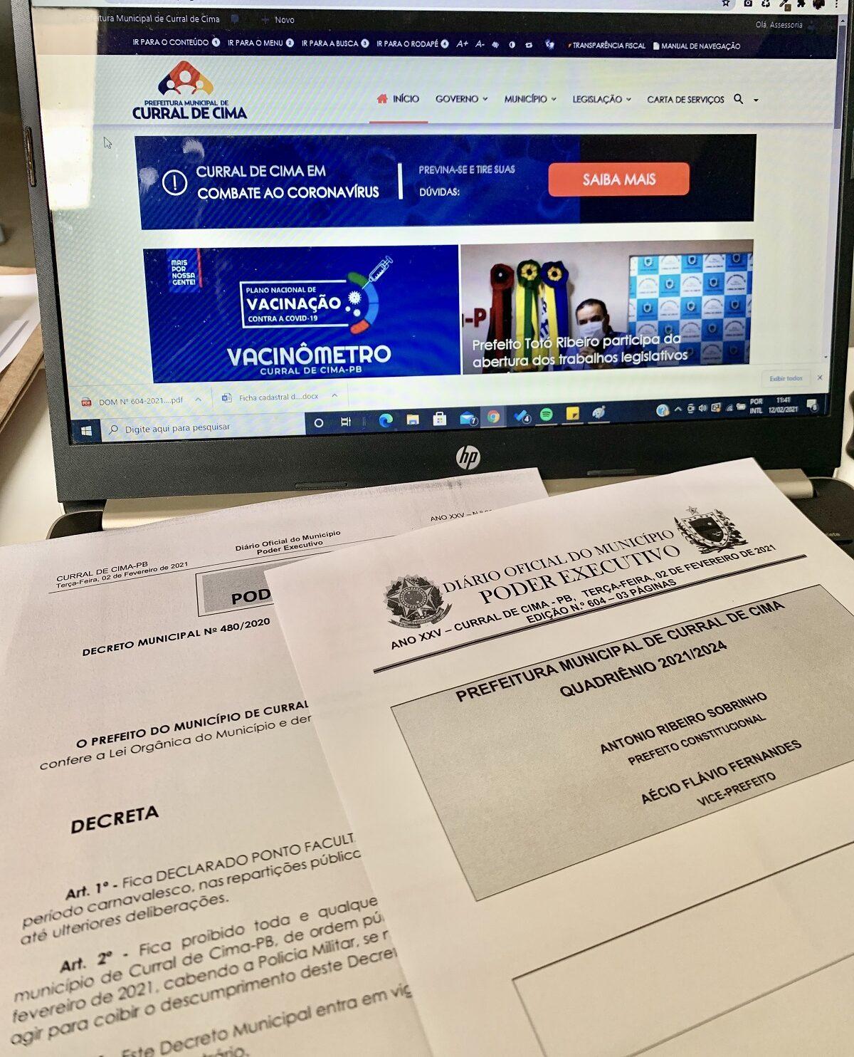 Prefeito decreta ponto facultativo de 15 a 17 de fevereiro e suspende festas de carnaval em Curral de Cima