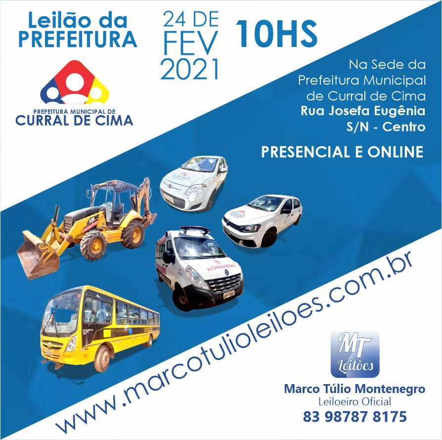 Prefeitura de Curral de Cima realizará leilão de veículos e máquinas