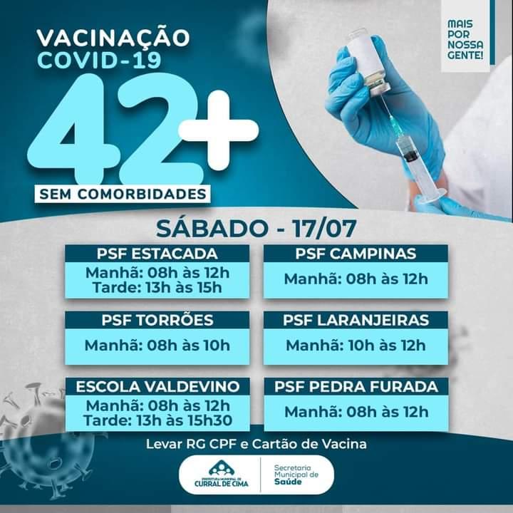 Covid-19: Curral de Cima realiza mutirão de vacinação neste Sábado para pessoas com 42+