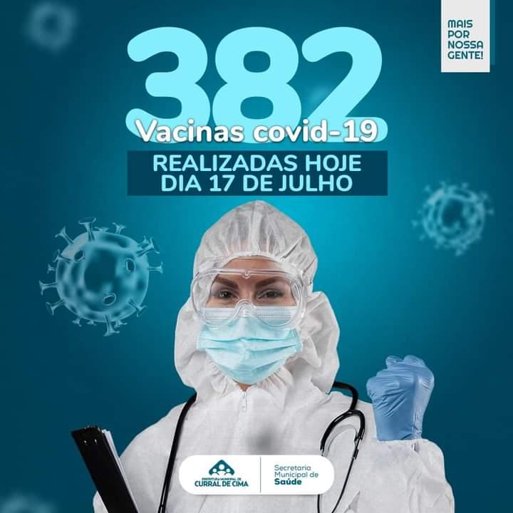 Prefeitura de Curral de Cima vacina 382 pessoas em 7 horas de mutirão e atinge marca de 2.836 doses aplicadas