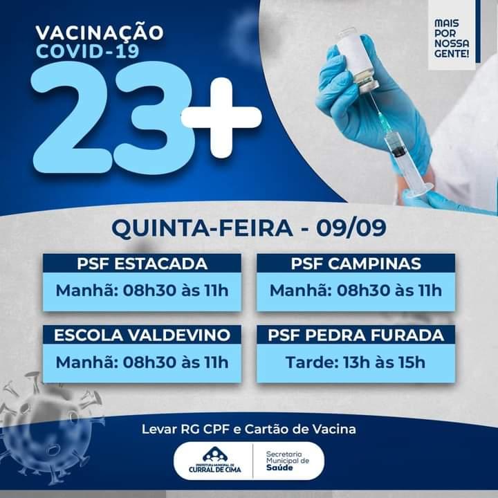 Curral de Cima amplia cobertura vacinal para pessoas com 23+